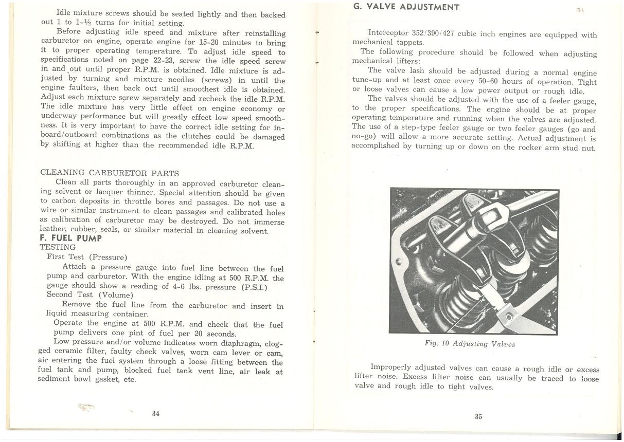 "... adjustment section from my Eaton Marine Interceptor owners manual, with  regqrds to the solid lifter Ford ""FE"" series motor, of which the 427 Chris  Craft ..."