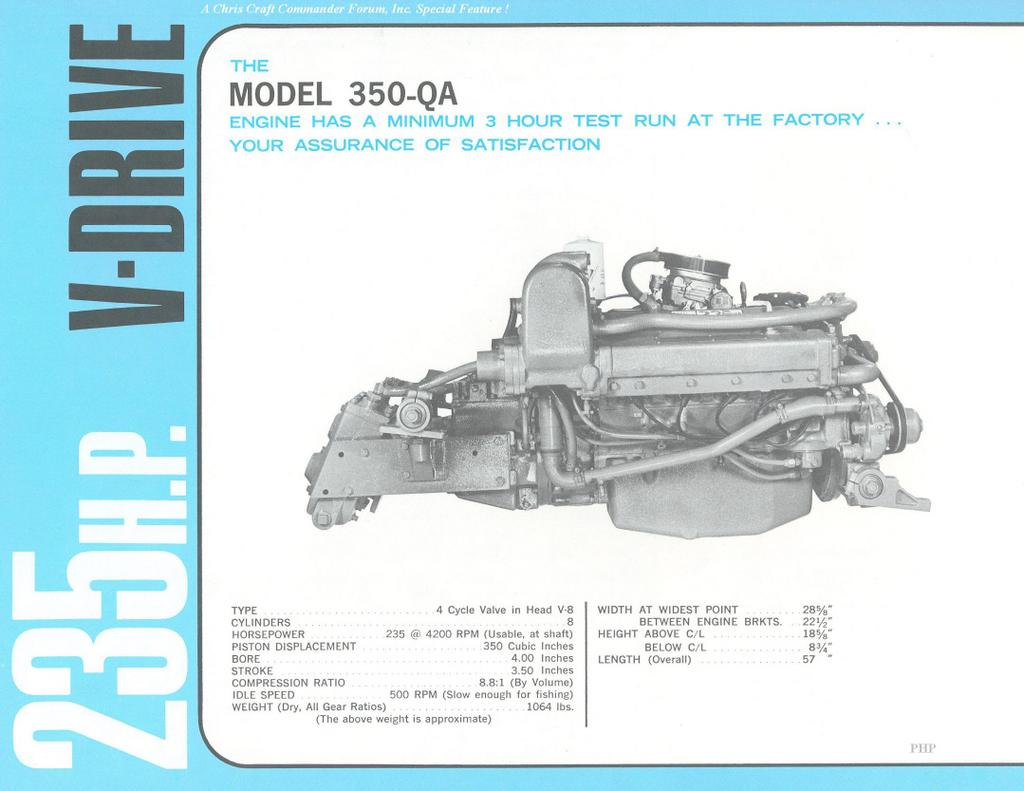 Looking at these images, one from our Chris Craft Power archives, and the  other from Bill Policastro's identical 23' Commander, it sure appears the  motor is ...